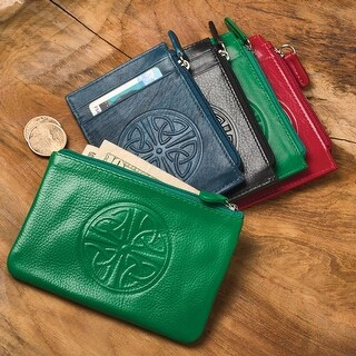 "Women's Celtic Knot Coin Purse - Leather - RFID Blocking - 5"" x 3.25"" - One size (Option: Blue)"