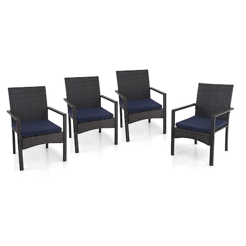 PHI VILLA Patio Rattan Chair Set of 4, Outdoor Modern PE Wicker Armchair with Removable Cushions for Deck, Garden, Balcony