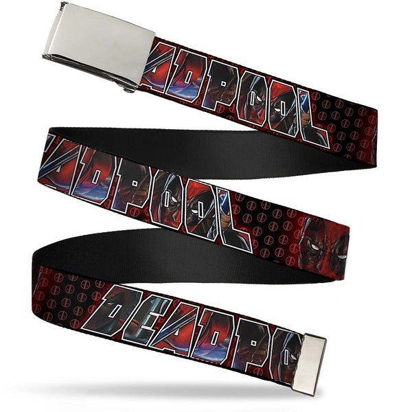 "Marvel Universe Blank Chrome 1.0"" Buckle Deadpool Face Close Up W Logo Red Web Belt 1.0"" Wide - S"