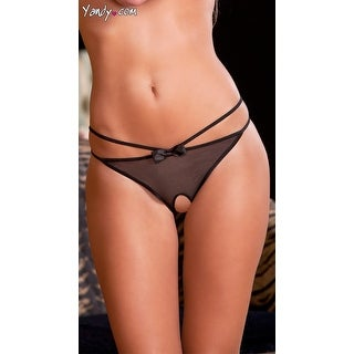 Mesh Crotchless Panty With Satin Bows