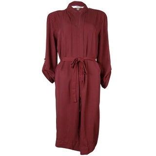 Studio M Women's Belted 3/4 Sleeve Shirt Dress