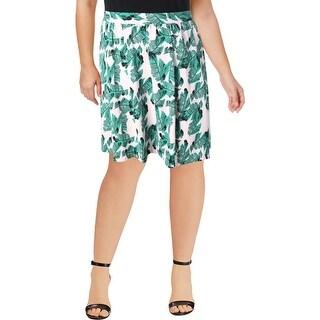 Modamix Womens A-Line Skirt Leaf Print Knee Length