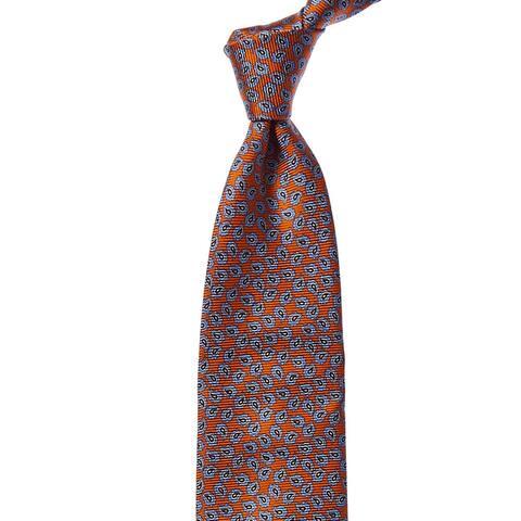 Ermenegildo Zegna Orange & Blue Paisley Silk Tie - NoSize