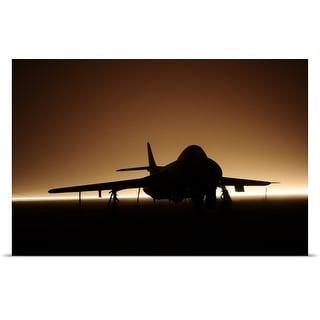 Poster Print entitled Hawker Hunter jet silhouette in fog