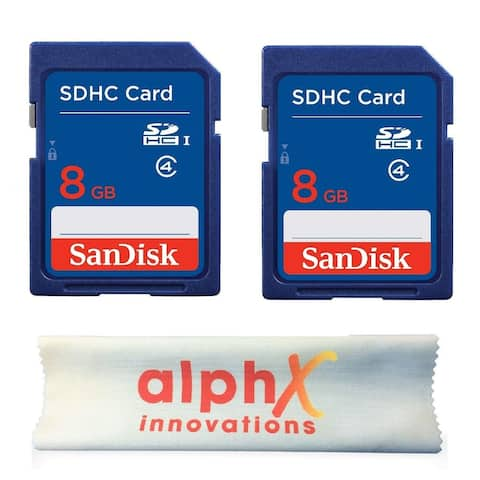 2 Pack - SanDisk 8GB SDHC Class 4 Memory Card with Alphx Innovation Microfiber Cloth