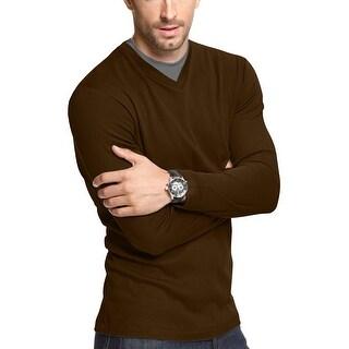 John Ashford Long Sleeve Pieced Ribbed V-Neck Shirt Dark Sable Brown Large L