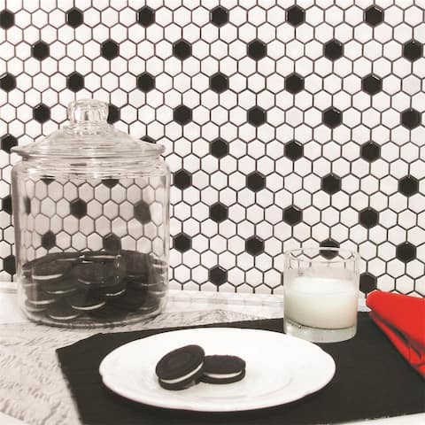 SomerTile 10.25x11.88-Inch Victorian Hex Matte White with Black Dot Porcelain Mosaic Floor and Wall Tile(10 tiles/8.65 sqft.)