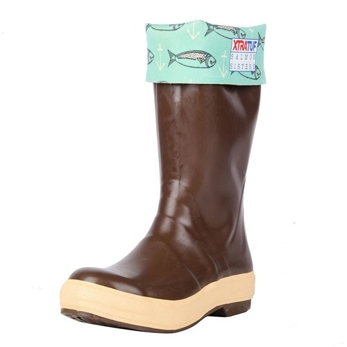 "Xtratuf Women's 15"" Salmon Sister Legacy Fish Print Boots w/ Chevron Outsole - Size 8"