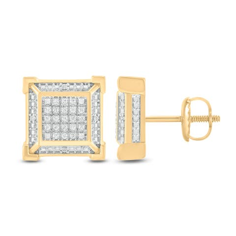 Cali Trove 925S Sterling Silver yellow plated with 1/6 ct TDW Mens Fashion Earring