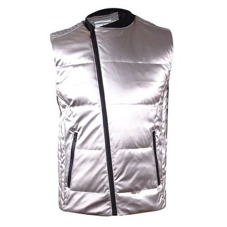Calvin Klein Men's Quilted Silver-Tone Vest - Silver
