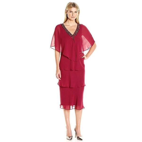 Shop SLNY SL Fashions Plus Size Beaded Tiered Sheath Dress ...