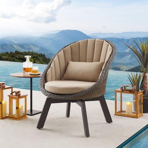 Art Leon Outdoor Wicker Swivel Barrel Chair with Cushion (Set of 2)