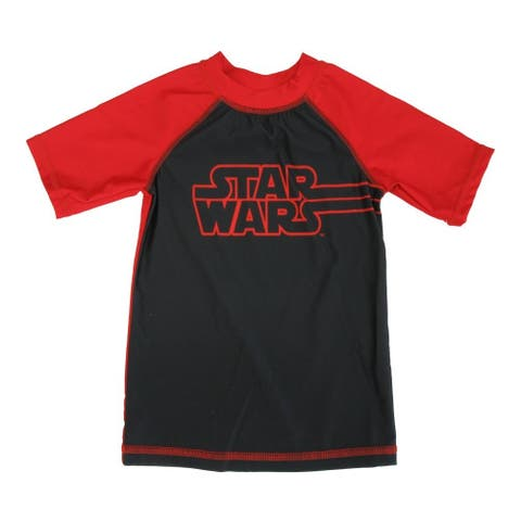 Star Wars Little Boys Red Black Letter Print Short Sleeve Rashguard 2-7