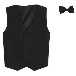 Baby Boys Black Poly Silk Vest Bowtie Special Occasion Set 3-24M