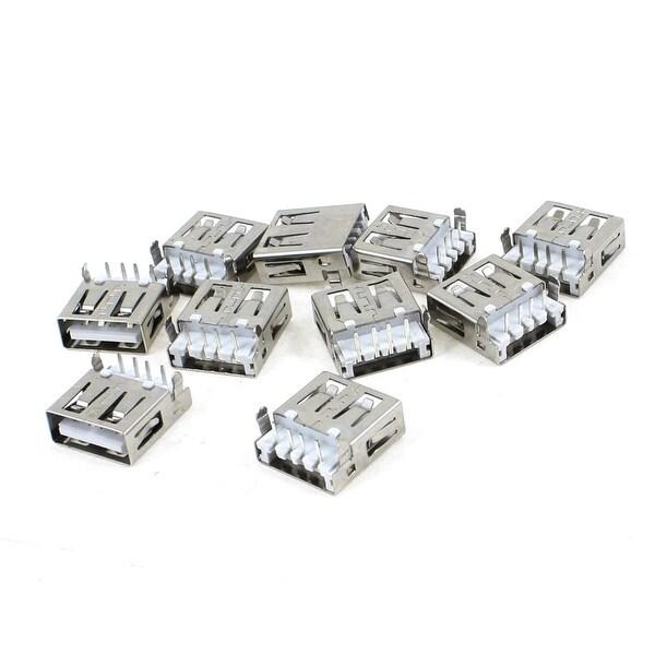 Unique Bargains 10pcs 90 Degree 4-Pin Shielded DIP Female USB Type A Jack Socket Port