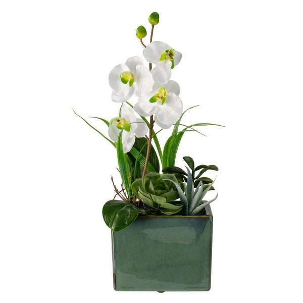 """12"""" Potted Artificial Orchid and Succulents Flower Arrangement - N/A"""