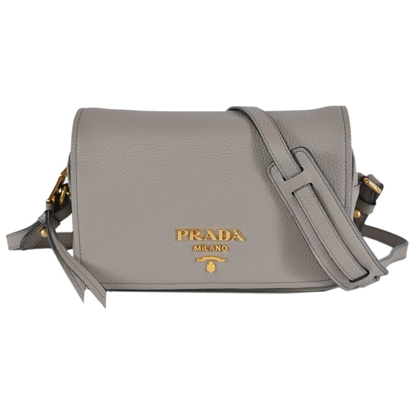6ea8ee1e4b90 Prada Grey 1BD163 Pattina Pelle Vitello Phenix Leather Crossbody Bag Purse