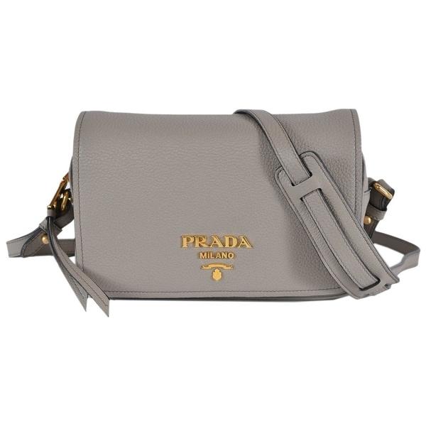 4c4f1b9c8f18 Prada Grey 1BD163 Pattina Pelle Vitello Phenix Leather Crossbody Bag Purse