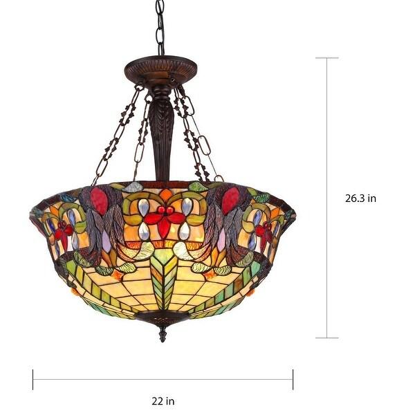 Tiffany-style Victorian 3-light Inverted Pendant