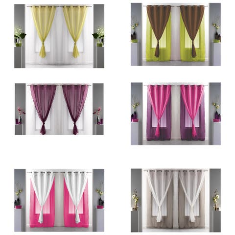 Set of 2 Double Layered Sheer Curtain Panel Grommet ROBIN