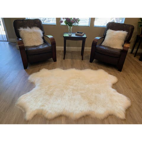 "Highland Select Natural Long Wool Sheepskin 4 Pelt Shag Rug - 3'6"" x 5'6"""