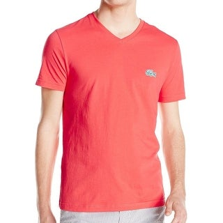 Lacoste NEW Solid Pink Mens Size 2XL V-Neck Short Sleeve Tee T-Shirt