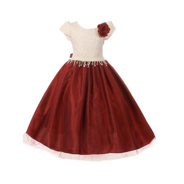 2c89da473c4e Shop Little Girls Burgundy Tulle Taffeta Jacquard Rose Accented Christmas  Dress - Free Shipping On Orders Over $45 - Overstock - 25634058