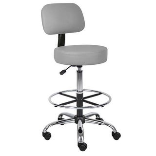 Caressoft Medical Drafting Stool with Back Cushion and Foot Ring-