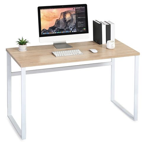 Homury Modern Steel and Wood Computer Desk