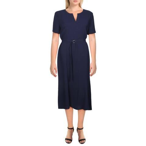 Shoshanna Womens Midi Dress Belted Split Neck - Navy