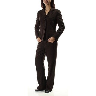 LE SUIT Womens New 1218 Brown Straight leg Wear To Work Pant Suit 8 B+B