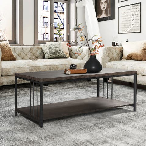 FurnitureR Industrial Dark Brown Coffee Table