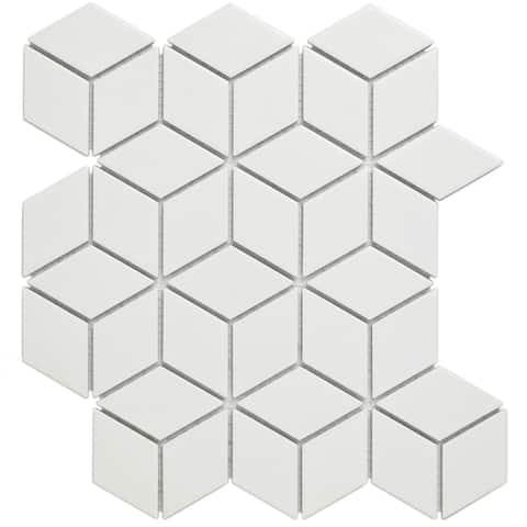 Glazed Porcelain Mosaic Tile Sheet Paris Rhombus Matte White