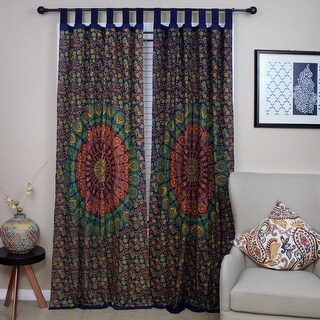 Handmade Floral Mandala Peacock 100% Cotton Tab Top Curtain Drape Panel 44x88 Inches - 44 x 88