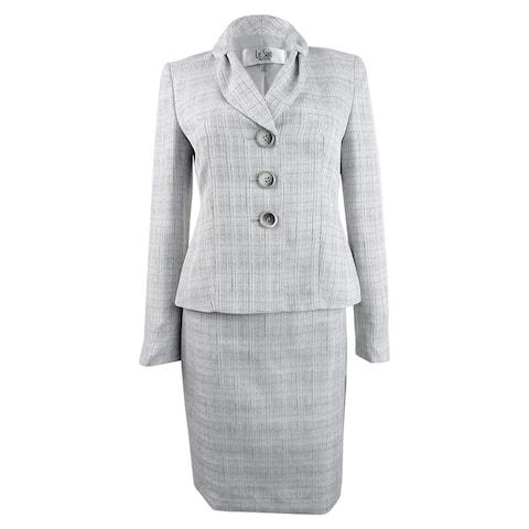 Le Suit Women's Petite Bow-Collar Skirt Suit - Grey Multi