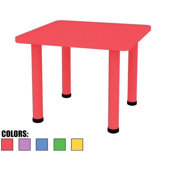 2xhome Adjustable Height Kids Plastic Activity Table Metal Leg Square Toddler Child Preschool Home Desk Dining Kitchen Red