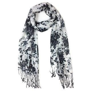 Women's Fashion Floral Soft Wraps Scarves -F1 Black - Large