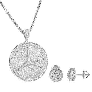 Luxury Car Logo Pendant Cluster Halo Earrings Combo Set Necklace Iced Out