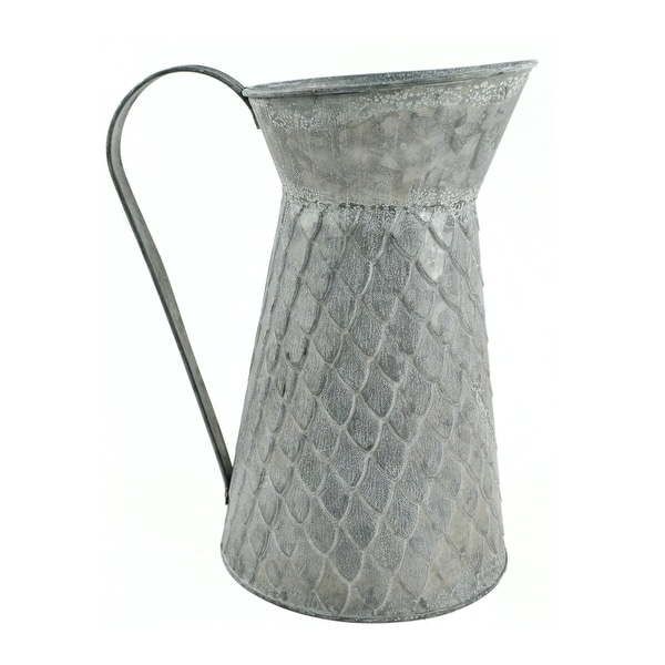 "9.75"" Gray Decorative Galvanized Tin Container Pitcher - N/A"