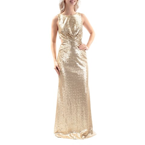 Womens Gold Sleeveless Full Length Sheath Cocktail Dress Size: 4