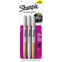 Sharpie Metallic Permanent Markers, Fine Tip, Assorted Metallic Colors, Pack of 3