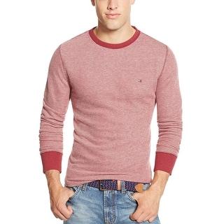 Tommy Hilfiger Hopkins Terry Cloth Crewneck Sweatshirt Beet Red Medium M