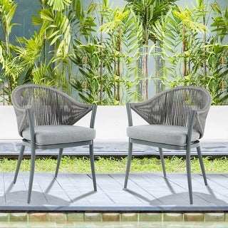 Link to NUU GARDEN Aluminum Woven Rope Patio Dining Chair with Cushions (Set of 2) Similar Items in Patio Dining Chairs
