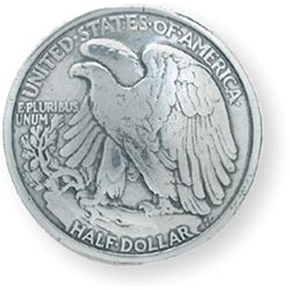 Eagle Half Dollar - Concho Silver Screwback 1.1875""