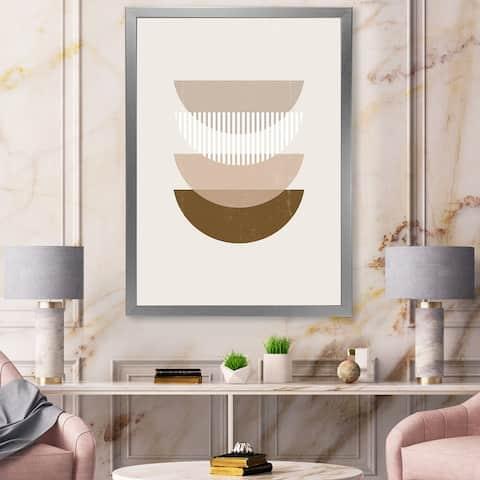 Designart 'Abstract Sun Moon Geometric Print III' Modern Framed Art Print