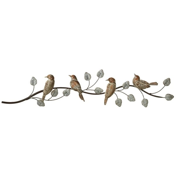 "39.37"" Gray and Rustic Brown Galvanized Patina Birds on Branch Wall Decor"