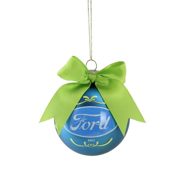 """2.75"""" Blue and Green """"Ford"""" Logo Glass Ball Christmas Ornament"""