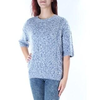 TOMMY HILFIGER $80 Womens New 1436 Blue Short Sleeve Jewel Neck Sweater XL B+B