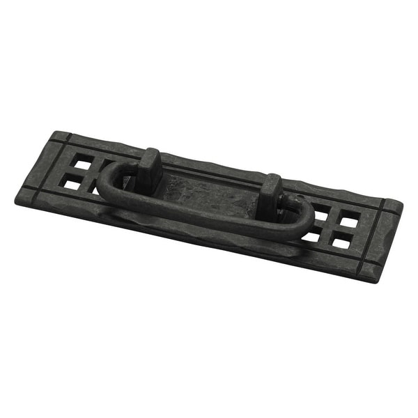 Mission 4-1/4 Inch Center to Center Drop Cabinet Pull - Flat Black