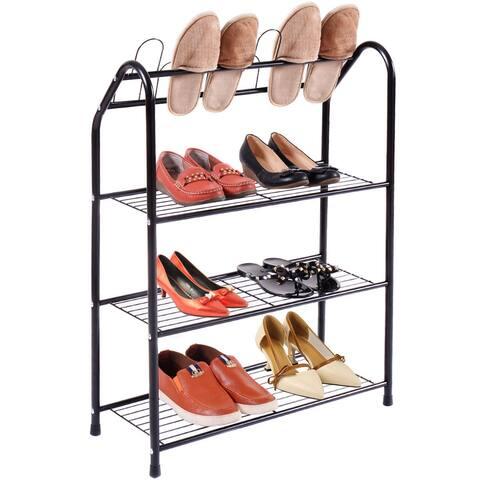 Costway Black 4 Tire Metal Shoe Tower Shelf Storage Rack Cabinet Dorm Home Furniture New